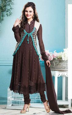 BROWN GEORGETTE ANARKALI SALWAR KAMEEZ - CRO 5003