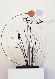 """Anne K Imbert - """"au bord de l'étang"""" #annekimbert #samagra #art #bronzesculpture #sculpture #birds #suspendedsculpture #artcontemporain #contemporaryart"""
