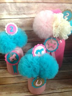 Teal & Pink Shabby Chic Horse Cowgirl Party Decor by UptownAbby, $18.00