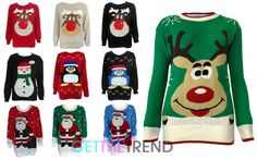 Womens Christmas Jumper Ladies Penguin Rudolph Reindeer Xmas Pull Over Sweater