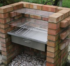 There are lots of ways to build brick barbecues which, if done properly, can become an interesting characteristic in your garden. A Brick BBQ Kit is going to bring you endless enjoyment from having barbecue parties in the garden with family and friends, a Brick Grill, Brick Ovens, Stainless Steel Grill, Charcoal Bbq, Grill Design, Barbecue Design, Outdoor Cooking, Outdoor Kitchens, Backyard Landscaping