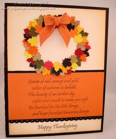 Ink N' Scrap Habits: Thanksgiving Leaves Amber Sky, Thanksgiving Cards, Fall Cards, Cardmaking, Paper Crafts, Leaves, Make It Yourself, Card Ideas, Christmas