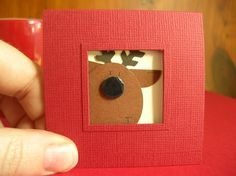 Punch Art Fun: Punch Art Christmas Cards - Reindeer porthole (square)