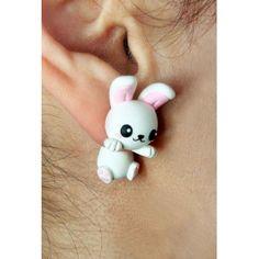 White Bunny Clinging Ears,fimo, handmade,hecho a mano,polymer clay,cuelga orejas,earrings,conejo blanco,pendientes,