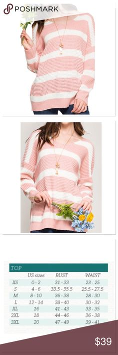 "Long Sleeve V Neckline Striped Sweater This beautiful sweater will be your ""go to"" every weekend! It's soft and roomy; not too warm for indoors. The color is rose pink which is gorgeous. 65% Cotton / 35% Acrylic. Made in the USA. Kelye's Kloset Sweaters V-Necks"