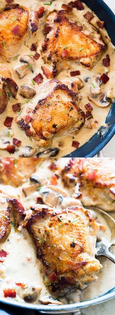 These one pan creamy bacon rosemary mushroom chicken thighs are simmered in a lightened up alfredo like bacon sauce and are going to be your favorite weeknight comfort food. Serve it with pasta, or if you are looking for a low carb version, just add some Turkey Dishes, Turkey Recipes, Chicken Recipes, Dinner Recipes, Recipe Chicken, Dinner Ideas, Mushroom Chicken, Bacon Mushroom, Mushroom Broccoli