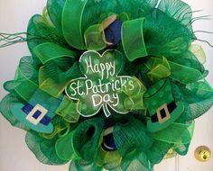 St. Patrick's Day Deco Mesh Wreath.
