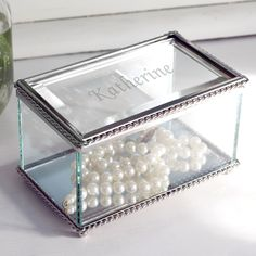 Engraved Beveled Glass Jewelry Box