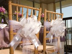 Tulle Ribbon & Bow Chair Decorations for reception Wedding Pews, Diy Wedding Reception, Wedding Chairs, Wedding Guest Book, Wedding Favors, Our Wedding, Wedding Decorations, Dream Wedding, Budget Wedding