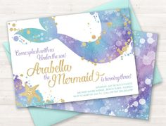 Mermaid Invitation, Mermaid Party Invite, Under the Sea Invitation, Teal Purple Gold, Little Mermaid, Birthday Invitation, Pool Party Invite