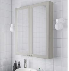 IKEA - GODMORGON, Mirror cabinet with 2 doors, Kasjön light gray, Limited Warranty. Mirror door is self-closing the last few inches. Bathroom Mirror Cabinet, Mirror Cabinets, Mirror Door, Bathroom Storage, Ikea, Rustic Bathrooms, Small Bathroom, Bathroom Ideas, Shallow Cabinets