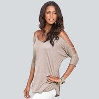 Wish | Sexy Womens Off Shoulder Short Sleeve T-Shirt Casual Loose Tee Tops Blouse