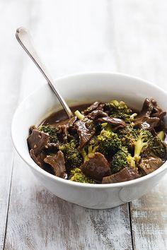 steak + beef broth + soy sauce + brown sugar + sesame oil + garlic + chili flakes + broccoli + corn starch