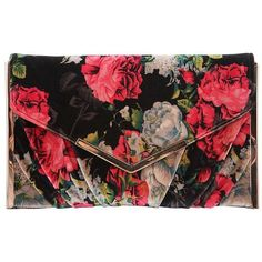 Nina Liddie Printed Velvet Envelope Clutch ($58) ❤ liked on Polyvore featuring bags, handbags, clutches, red black, red purse, floral print purse, floral clutches, nina handbags and nina purses