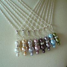 Bridesmaid pearl necklace set