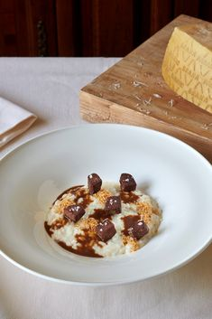 This stunning veal tongue risotto recipe is an ode to the Costardi brothers' native Piedmont, with hazelnuts, veal sauce and Grana Padano creating a deeply savoury, delicious dish. Food Network Recipes, Food Processor Recipes, Italian Chef, Risotto Recipes, Non Stick Pan, Food Shows, Recipe Using, Tasty Dishes