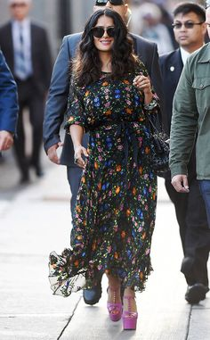 <p>The star looks stunning in a floral dress while arrivingfor an appearance on <em>Jimmy Kimmel Live!</em> in Hollywood.</p>