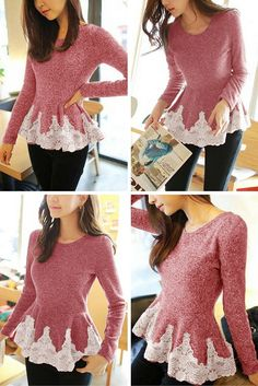 Pink lace-edged sweater