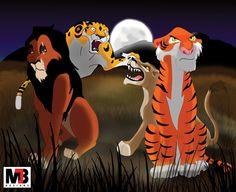 Scar (The Lion King), Sabor (Tarzan), Zira (The Lion King II), & Shere Khan (The Jungle Book)