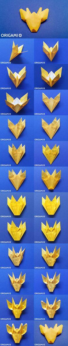 Origami Giraffe head, from Lily to Girafe! #origami #tutorial #diagram #video #giraffe