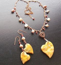 Crazy Lace Agate Gemstone Heart Necklace Set with by HrtsofStone, $105.00