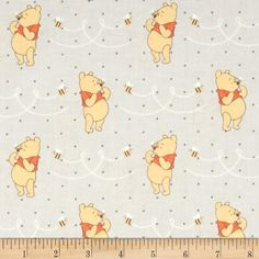 Disney Winnie The Pooh Honeybee Light Grey from @fabricdotcom  Designed by Disney and licensed to Springs Creative Products, this cotton print fabric is perfect for quilting, apparel and home decor accents. Colors include white, grey, orange and gold. Due to licensing restrictions, this item can only be shipped to USA, Puerto Rico, and Canada.