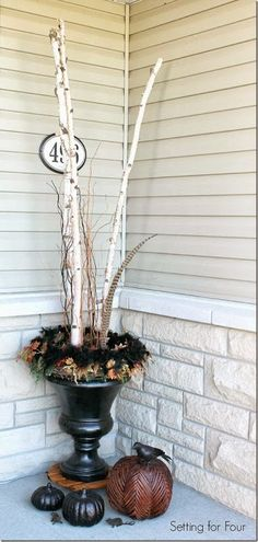 A Fall Birch Branch Urn and Fall Porch DIy decorating tips | http://www.settingforfour.com