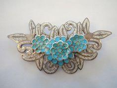 Vintage Brooch | Margot de Taxco.  Sterling silver, Blue & White Enamel