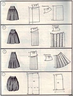 57 ideas skirt design sewing how to make Skirt Patterns Sewing, Clothing Patterns, Pattern Cutting, Pattern Making, Diy Clothing, Sewing Clothes, Sewing Hacks, Sewing Tutorials, Creation Couture