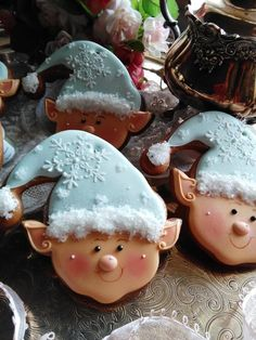 Christmas Cookie Elves - done by Teri Pringle Wood; cookie cutter by TMP. Blue Christmas, Christmas Baking, Christmas Goodies, Country Christmas, Xmas, Christmas Ornaments, Christmas Holidays, Fancy Cookies, Cupcake Cookies