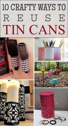 10 Crafty Ways to Reuse Tin Cans - tin can crafts - 10 Crafty Ways to Reuse Tin Cans - Upcycled Crafts, Recycled Decor, Recycled Tin Cans, Aluminum Can Crafts, Tin Can Crafts, Diy Crafts To Sell, Crafts For Kids, Crafts With Tin Cans, Aluminum Cans