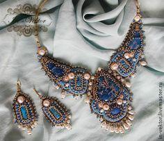Золотой песок океана - синий,морской стиль,Колье с жемчугом,серьги с жемчугом