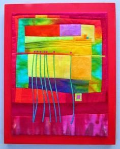 """Rooting for Spring  Hand dyed cottons and silk, fused. machine quilted and mounted on painted wood panel. 11x14"""""""