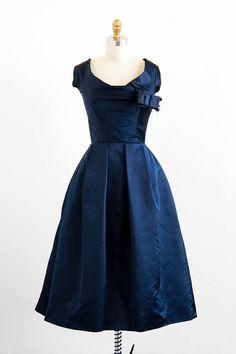 vintage 1950s midnight blue silk evening gown by Karen Stark for Harvey Berin.