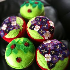 African Violets and Ladybug pincushion :) by Spincushions, via Flickr