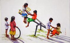 SIVA BALAN: PAINTING Childhood Memories 90s, Childhood Games, Art Village, Pencil Art Drawings, Art Drawings Sketches, Om Namah Shivaya, Composition Painting, Village Photography, India Painting
