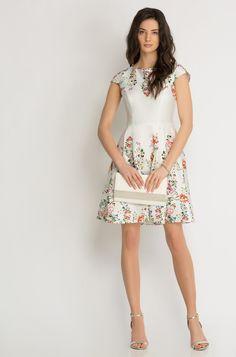 Kleid in Glockenschnitt mit Blumen-Print