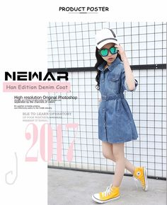 New Product 2017 Latest Jeans Tops Girls Korean Fashion Cotton Belt Furcated Kids' Denim Dress For Girls - Buy 2017 New Fashion Cotton Girls Denim Dress,Special Design For Kids' Dress,Kids' Denim Dress With A Belt Product on Alibaba.com New Fashion, Korean Fashion, Women's Fashion, Girls Denim Dress, Girls Dresses, Latest Jeans, Denim Coat, Jean Top, Abayas