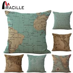 Cheap cushion cover pillow, Buy Quality cushion headrest directly from China pillow shell Suppliers: 18 Inches Square Vintage World Map Pillows Outdoor Cushion For Chairs Bedroom Decor Cotton Linen Home Textile No Core