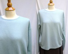 Plus size 1990s Light Blue Cashmere Crew Neck Sweater from Lord and Taylor, Size L, Made in Hong Kong by HiddenTreasureHunter on Etsy