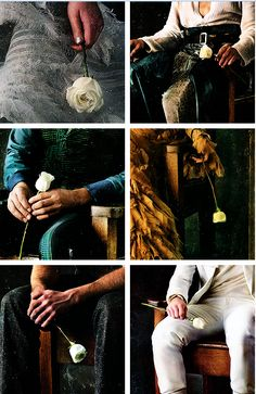 The way each tributes hold the white rose with the exception of Gale...I still dont get why he got to sit in the victory chair and even hold a rose...it would have been much better if only the victor tributes got to hold it...