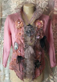 Pink baroque jacket extravagant reworked vintage by FleursBoheme