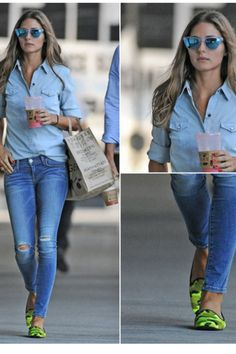 Olivia Palermo is rocking the denim on denim and love the camo flats.