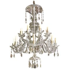 Period 18th Century Irish Georgian 16 Light Cut Crystal Chandelier, County Cork | From a unique collection of antique and modern chandeliers and pendants  at http://www.1stdibs.com/furniture/lighting/chandeliers-pendant-lights/