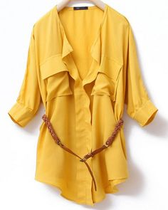 Yellow V Neck And Concealed Placket Half Sleeve Belted Blouse - Sheinside.com