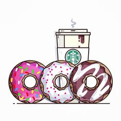 Donuts and coffee    Pick your favorite..  __________________________________________________ #design #illustration #draw #sketch #dribbble #colorful #donut #donuts #vector #thedesigntip #minimal #sweet #art #icon #starbucks #starbucksaddict #coffee #food #starbuckscoffee #graphicgang #icondesign #pencildrawing #simpsons #cream #vector #iconaday #chocolate #caramel #minimal #coffeetime #sprinkles by almigor
