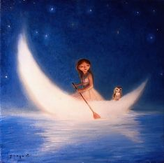 Moon boat. love this art work!! Especially the little owl on the back of the…