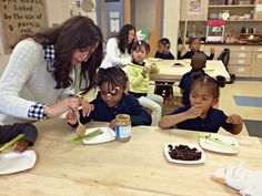 Students in our pre-k class learned about edible plant stems this week, making ants on a log. Recipe here: http://pinterest.com/pin/331155378820498232/