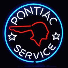 "PONTIAC SERVICE NEON SIGN-NN5PONTI  22"" wide, 22""high, 4"" deep  Light up your garage with our Pontiac Service Neon Sign, featuring multi-colored, hand blown tubing supported on a black, finished metal grid. The Pontiac Service Neon Sign can be displayed flat on a wall or in a window or alternately be placed upon a shelf."
