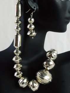 NAVAJO PEARLS STERLING SILVER BEAD NECKLACE & EARRINGS BY CALVIN LARGO